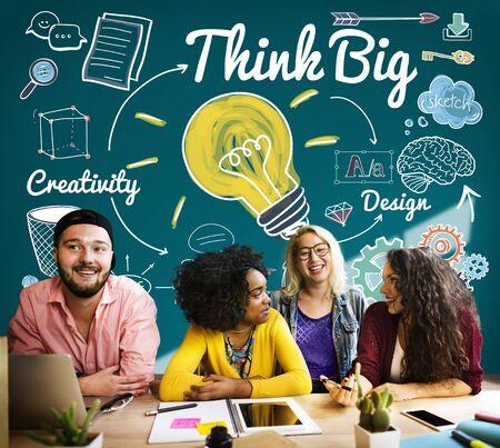 optimismo: Think Big Fe concepto actitud, inspiración optimismo