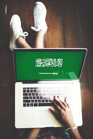 saudi arabia: Saudi Arabia Flag Business Communication Connection Concept