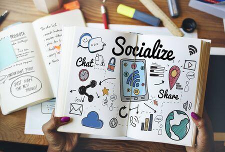 socialize: Socialize Sharing Social Media Sharing Concept Stock Photo