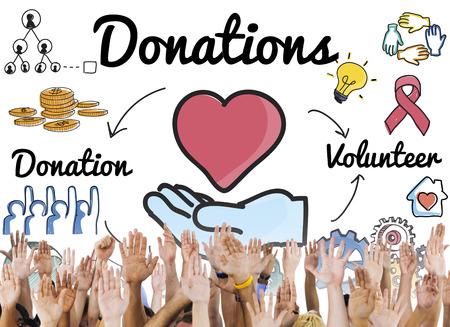 Donations Volunteer Charity Heart Welfare Concept Stock fotó