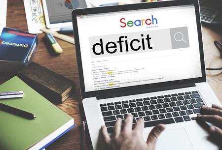 deficit: Deficit Crisis Problem Bankruptcy Debt Deficiency Concept