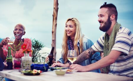 young adults: Diverse Ethnic Friendship Party Leisure Happiness Concept Stock Photo
