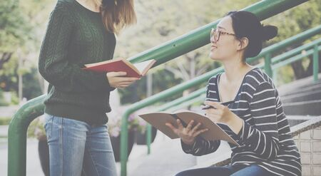 causal: Girl Bonding Campus Causal College Analysis Concept