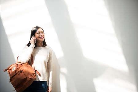 Artsy Asian Beautiful Chilling Fashion Journey Concept Stock Photo