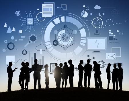 office team: Information Technology Digital Network Concept