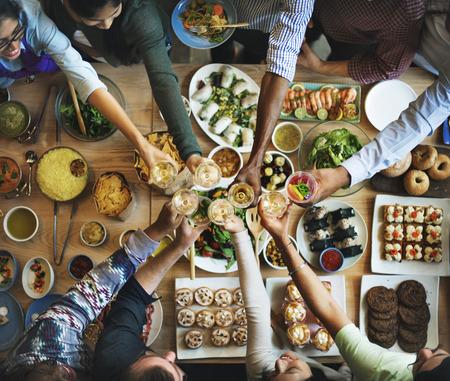 restaurant dining: Friends Happiness Enjoying Dinning Eating Concept