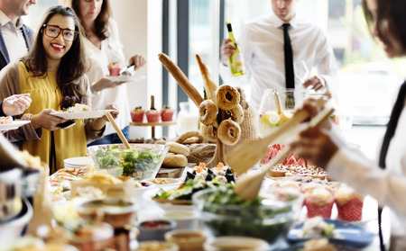 salad buffet: Buffet Dinner Dining Food Celebration Party Concept