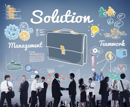 new business problems: Solution Problem Solving Result Progress Concept