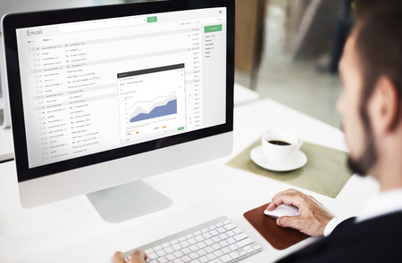 email: Send Email Business Chart Attachment Report Concept Stock Photo