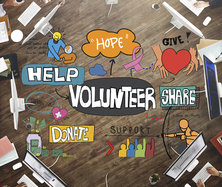 Volunteer Charity Give Help Share Service Concept Imagens - 54145249