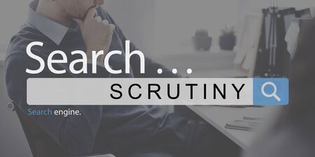 observe: Scrutiny Audit Observe Investigator Magnifier Concept Stock Photo