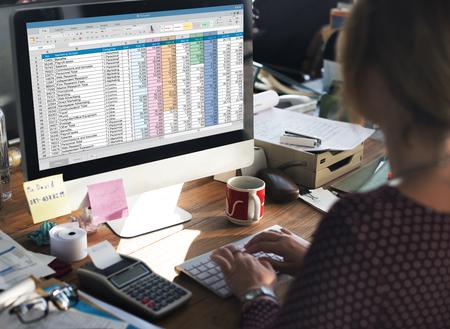 Spreadsheet Document Information Financial Startup Concept