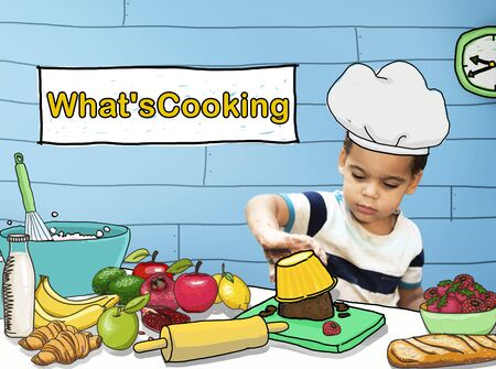 kneading: Whats Cooking Little Kid Chef Concept