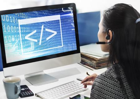 programming code: Binary Code Html Web Programming Concept Stock Photo