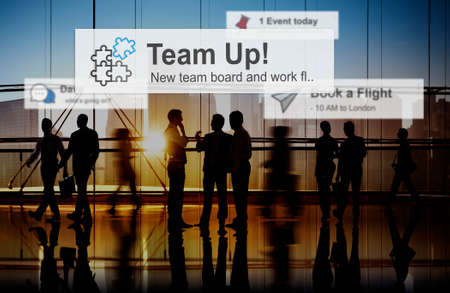 back in an hour: Team Building Collaboration Connection Corporate Teamwork Concept