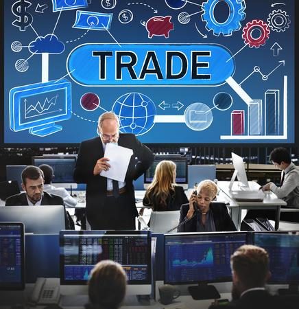 executive women: Trade Swap Deal Exchange Merchandise Commerce Concept Stock Photo