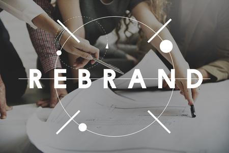 Rebrand ändern Identität Branding-Art-Bild-Konzept