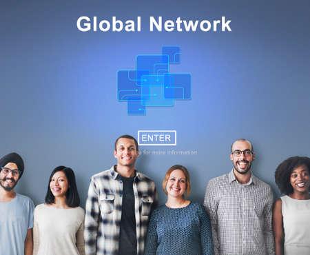 diversity domain: Global Network Internet Technology Online Connection Concept