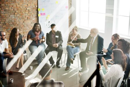 reuniones empresariales: Concepto de negocio de equipo Seminario de Estrategia Corporativa