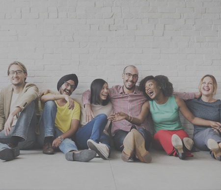 woman relaxing: Diverse Cool People Sitting Smiling Concept