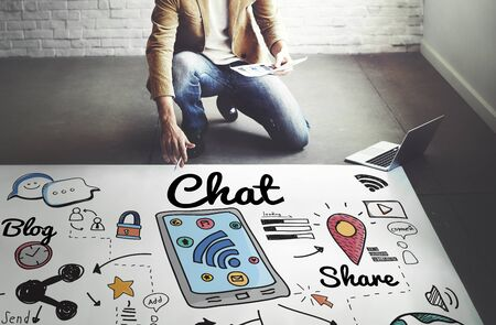chat online: Chat Online Communication Technology Social Networking Concept