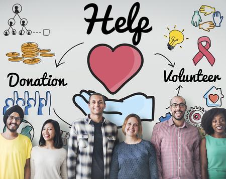 personas ayudando: Las donaciones de ayuda Bienestar concepto de esperanza de Voluntarios