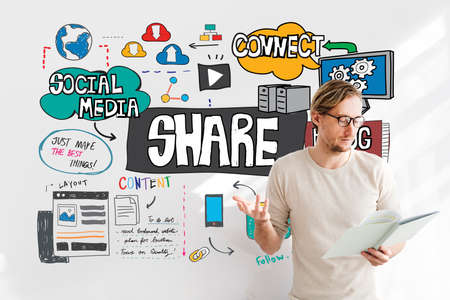 portion: Share Sharing Portion Media Connection Feedback Concept Stock Photo