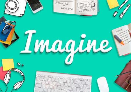 visualise: Imagine Imagination Vision Creative Dream Ideas Concept Stock Photo