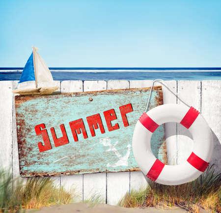 buoy: Summer Buoy Sailboat Grass Sand Sea Ocean Sky Concept Stock Photo