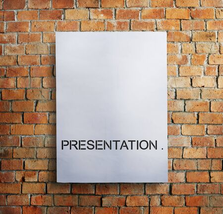 brickwall: Paper Document Presentation Brickwall Concept Stock Photo