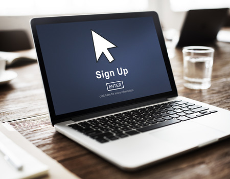 Aanmelden Registreer Registreer Aanvrager Enroll Enter Lidmaatschap Concept Stockfoto