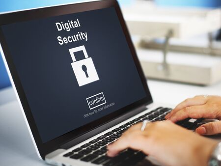 encrypted: Data Privacy Encrypted Online Security Protection Concept
