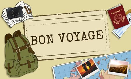 voyage: Bon Voyage Good Luck Trip Traveling Journey Concept