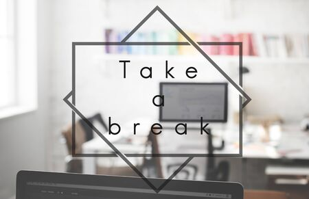 take a break: Take a Break Pause Relax Relief Rest Stop Repose Concept Stock Photo