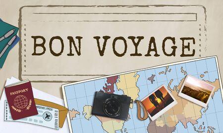 trip: Bon Voyage Good Luck Trip Traveling Journey Concept