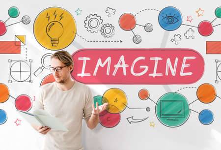 expect: Imagine Imagination Expect Creative Icons Concept Stock Photo