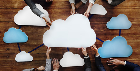 joining: Business People Joining Cloud Teamwork Concept