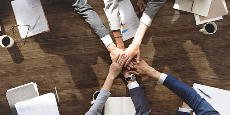 strength in unity: Business Team Support Join Hands Support Concept