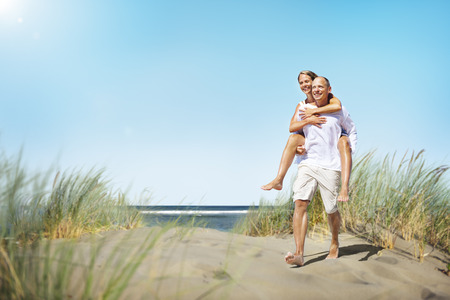 romaans: Paar Romance Beach Love Island Concept