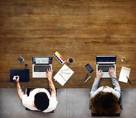 small business woman: Colleagues Busy Working Laptop Office Concept