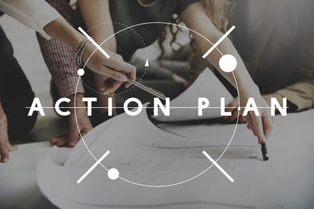 plan de accion: Concepto Dirección Plan de Acción de la Estrategia de Planificación Visión Foto de archivo