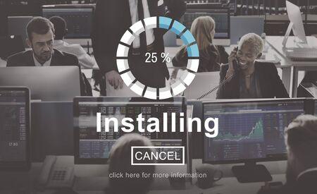 businessman waiting call: Installing Loading Progress Indicator Concept