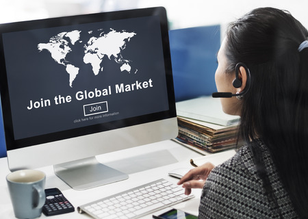 selling service: Global Market Commerce Commercial Consumer Concept Stock Photo