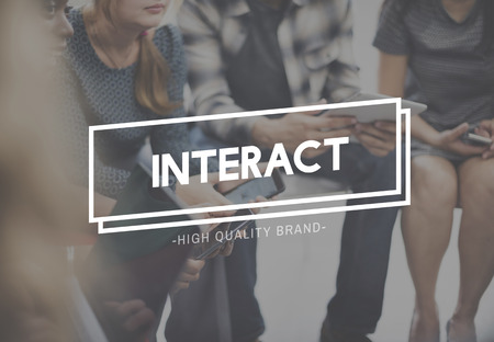 engaging: Interaction Interactive Engaging Social Together Concept Stock Photo
