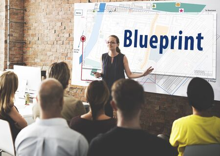 detailed: Blueprint Architecture Engineering Detailed Concept Stock Photo