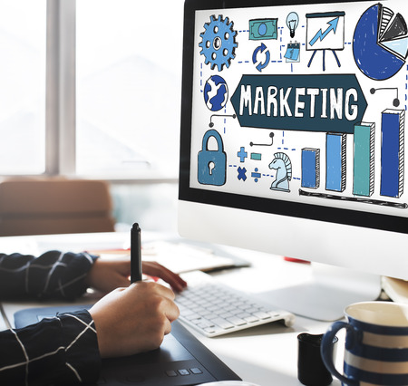 El plan de marketing concepto de publicidad comercial Foto de archivo