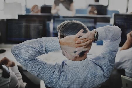 businessman thinking: Businessman Stress Investment Stock Trading Concept Stock Photo