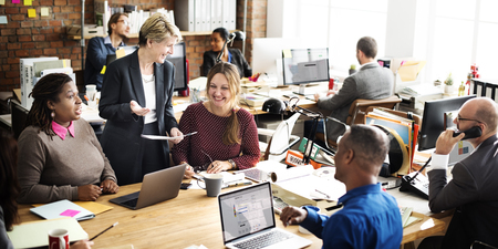 Business Team discussie Team Customer Service Concept
