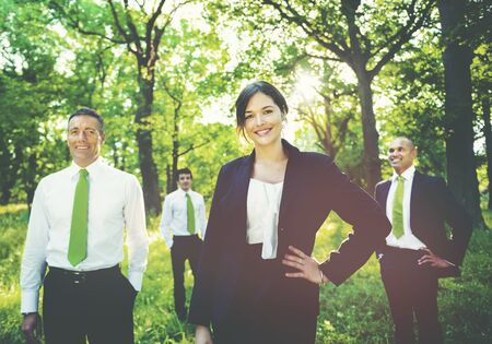 mixed age: Green business team Meeting Environmental Concept Stock Photo