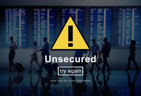 warning system: Unsecured Danger Warning Risk Management Security System Concept